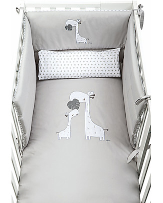 Picci Piumetto, Embroided Textile Set for Nina Bed, Grey - Includes duvet, cover, pillowcase and bumper Duvet Sets