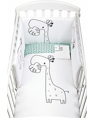 Picci Piumetto, Printed Textile Set for Nina Bed, White/Aqua - Includes duvet, cover, pillowcase and bumper Duvet Sets