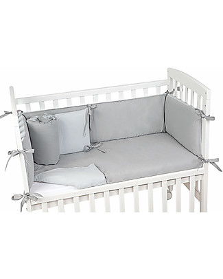 Picci Textile 4-Pieces Set for Lella Co-Sleeping Cot, Bicolor Grey/Oyster - Duvet, pillowcase, bumper and fitted sheet Bed Sheets