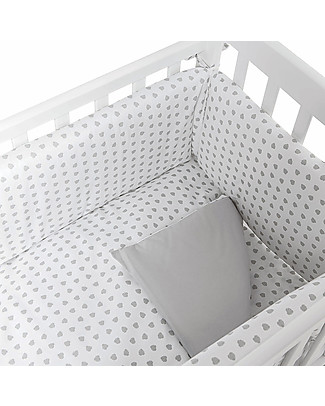 Picci Textile 4-Pieces Set for Lella Co-Sleeping Cot, Grey Leaves - Duvet, pillowcase, bumper and fitted sheet Bed Sheets