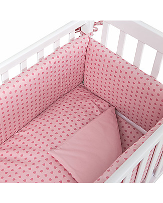 Picci Textile 4-Pieces Set for Lella Co-Sleeping Cot, Pink Leaves - Duvet, pillowcase, bumper and fitted sheet Duvet Sets