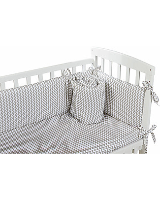 Picci Textile 4-Pieces Set for Lella Co-Sleeping Cot, Zig Zag Grey - Duvet, pillowcase, bumper and fitted sheet Bed Sheets