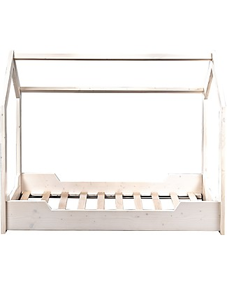 Picci Wooden Home Crib Liberty, Bleach -146x78x122 cm Montessori Bed