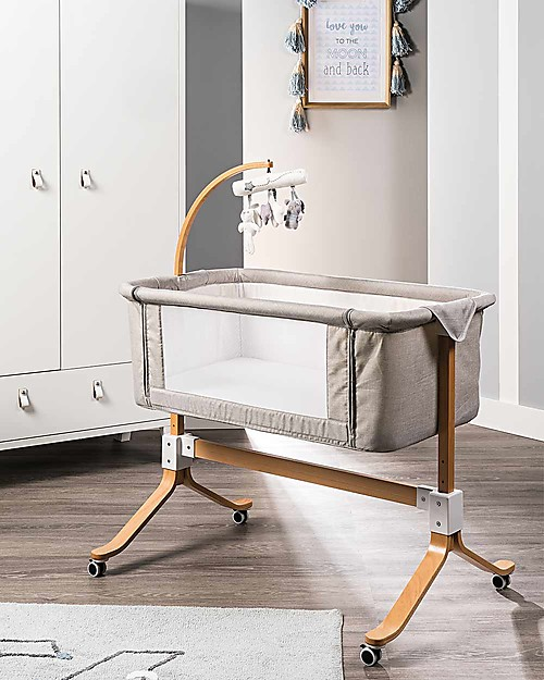 Picci You&Me, Co-Sleeping Cot / Crib - Beige - Mattress + Sheet + Mobile included! Co-Sleeping Cribs