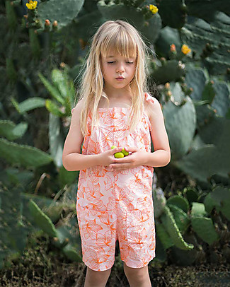 Picnik Girl's Short Jumpsuit, Pink/Flowers - 100% cotton Short Rompers