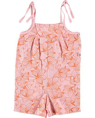 Picnik Girl's Short Jumpsuit, Pink/Flowers - 100% cotton Short Rompers