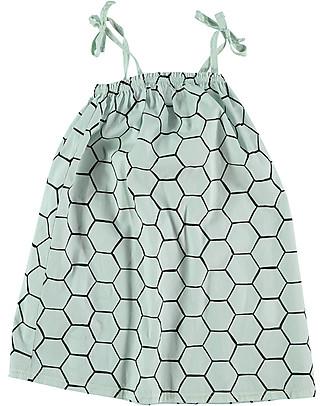 Picnik Girl's Straps Dress, Green Bee Hive - 100% cotton Dresses