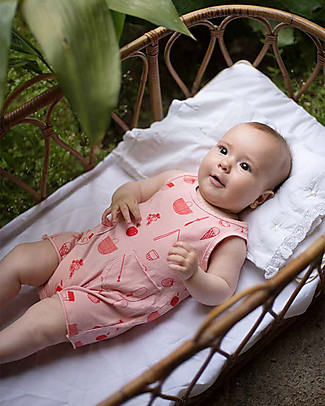 Picnik Sleeveless Romper with Pockets, Pink/Picnic - 100% cotton Short Rompers