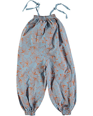 Picnik Spaghetti Straps Jumpsuit, Blue+Flowers - 100% Cotton Sweatshirts