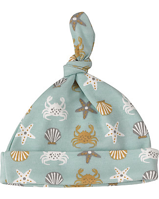 Pigeon - Organics for Kids Knotted Hat Crab Print, Turquoise - 100% Organic Cotton Hats