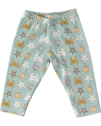 Pigeon - Organics for Kids Leggings Crab Print, Turquoise - 100% Organic Cotton Leggings
