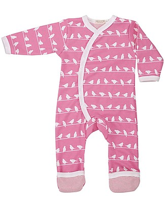 Pigeon - Organics for Kids Long Bird Romper Suit - 100% Organic - Multi-coloured Print on White Rompers