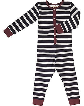Pigeon - Organics for Kids Onesie, Footless Pyjamas, Navy Breton - 100& Organic Cotton Pyjamas