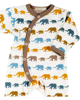 Pigeon - Organics for Kids Organic Cotton Long Elephant Romper Suit - Multi-coloured Print on White Rompers