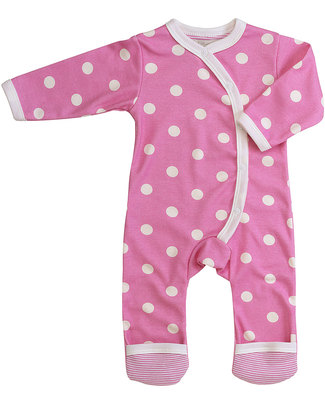 Pigeon - Organics for Kids Pink Polka Dot Romper - 100% Organic Cotton Rompers
