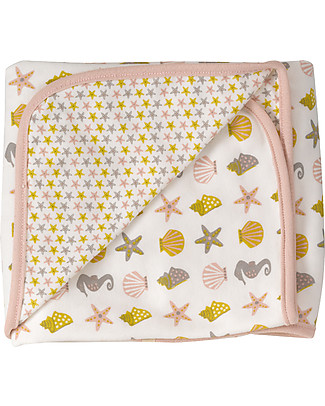 Pigeon - Organics for Kids Seaside Blanket Seahorse - 100% Organic Cotton (Double layer: super soft and cozy) Muslin Cloths