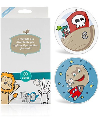 Pipiyo Magic Method + 2 Stickers for No-Tears Child Potty Training - Pirate and Rocket Potties