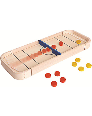 PlanToys 2-in-1 Wooden Board Game, Shuffleboard and Disc Flicking- Eco-friendly and fun Board Games