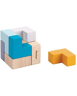 PlanToys 3D Wooden Puzzle - Solve the Cube! Building Blocks