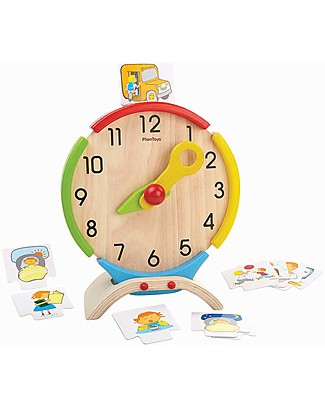 PlanToys Activity Clock, Wooden Toy - Teaches time perception! Montessori Toys