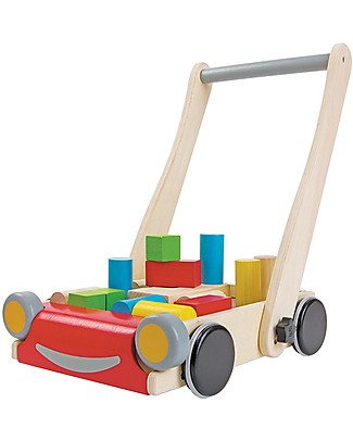 PlanToys Baby Walker, Wooden Push Toys - Encourages kids to walk! Wooden Push & Pull Toys