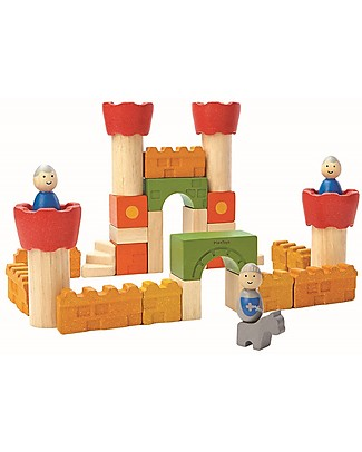PlanToys Castle Wooden Blocks - 35 pieces, including knights! Figures & Playsets