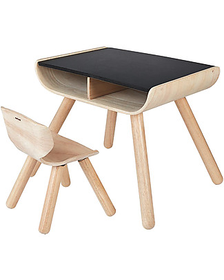 PlanToys Children Table + Chair Set, Black, 3-6 years - Design and sustainability! Tables And Chairs