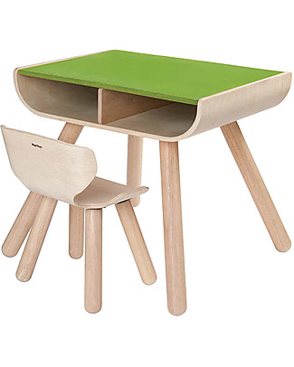 PlanToys Children Table + Chair Set, Green, 3-6 years - Design and sustainability! Chairs