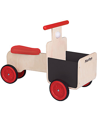PlanToys Delivery Bike, Wooden Bike with Storage Container and Chalkboard Details - 18 months/5 years Wooden Push & Pull Toys