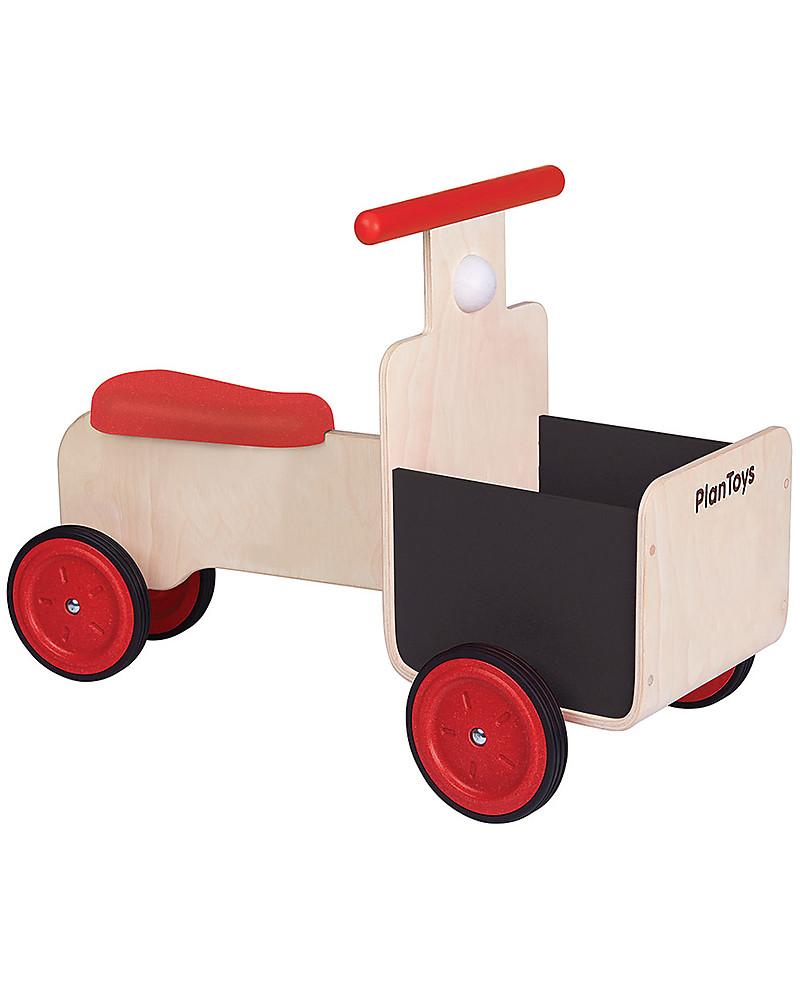 PlanToys Delivery Bike, Wooden Bike With Storage Container And Chalkboard  Details   18 Months/