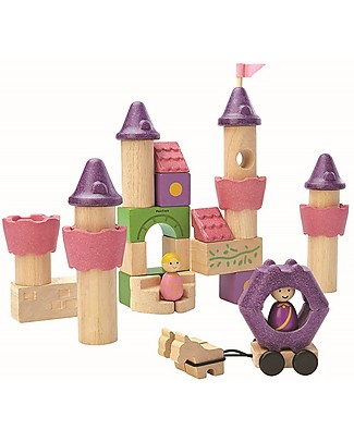 PlanToys Fairy Tale Wooden Blocks - 35 pieces, including prince and princess! Figures & Playsets