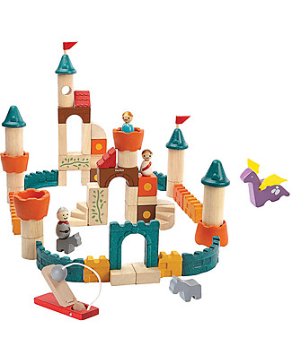 PlanToys Fantasy Wooden Blocks - 60 pieces, including prince and princess! Building Blocks
