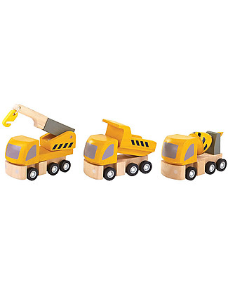 PlanToys Highway Maintenance: Crane, Dump Truck and Cement Mixer Wooden Toy Cars, Trains & Trucks