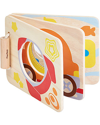 PlanToys Mirror Baby Wooden Book, Stimulates Coordination - Eco-friendly fun! Newborn Toys