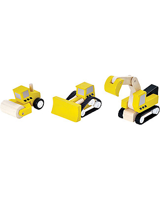 PlanToys Road Construction Set: Bulldozer, Steam Roller and Excavator Wooden Toy Cars, Trains & Trucks