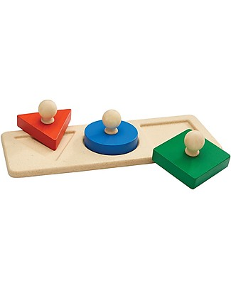 PlanToys Shape Matching Puzzle, 3 pieces - Learn about Figures! Puzzles