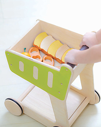 PlanToys Shopping Trolley, Wooden Push Toys - Encourages kids to walk! Wooden Push & Pull Toys