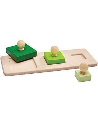 PlanToys Square Matching Puzzle, 3 pieces - Learn about Shapes Puzzles