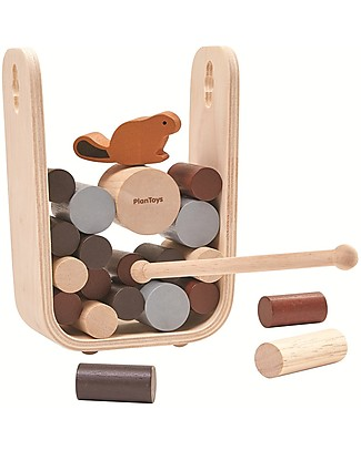 PlanToys Timber Tumble, the Beaver at the Dam - Educational and Funny for the whole Family! Wooden Stacking Toys