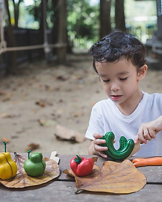 PlanToys Wonky Fruit & Vegetable Set - Teach to Reduce Food Waste Toy Kitchens & Play Food