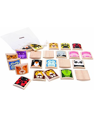 PlanToys Wooden Animal Memory Game, 24 Tiles - Promotes Natural Learning! Memory Games