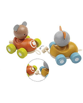 PlanToys Wooden Animal Train, Pull-Along Toy, 3 pieces - Eco-friendly fun! Wooden Push & Pull Toys