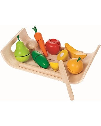 PlanToys Wooden Assorted Fruit & Vegetable Set - Eco-friendly and funny! Toy Kitchens & Play Food
