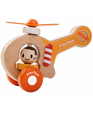 PlanToys Wooden Baby Helicopter, 16 cm - Eco-friendly fun! Wooden Toy Cars, Trains & Trucks