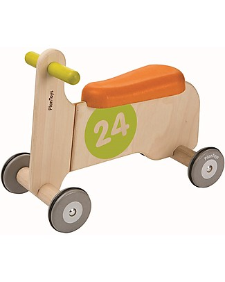 PlanToys Wooden Bike Ride-on I, Orange and Yellow - Develops body balance Balance Bikes