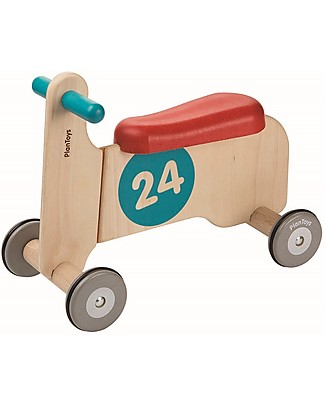 PlanToys Wooden Bike Ride-on II, Red and Blue - Develops body balance Balance Bikes