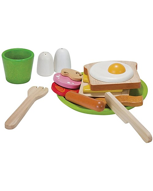 PlanToys Wooden Breakfast Menu - Teach Good Table Manner Toy Kitchens & Play Food