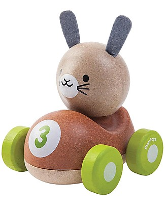 PlanToys Wooden Bunny Racer, 11 cm - Eco-friendly fun! Wooden Toy Cars, Trains & Trucks