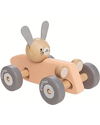 PlanToys Wooden Bunny Racing Car - Start the Race! Wooden Push & Pull Toys