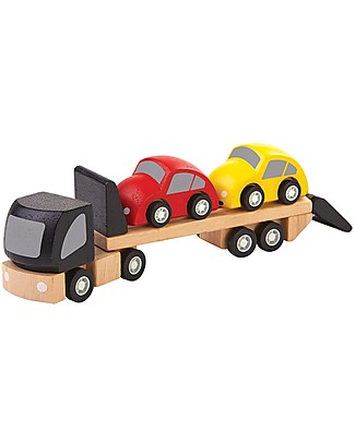 PlanToys Wooden Car Transporter - Cars Included! Wooden Toy Cars, Trains & Trucks